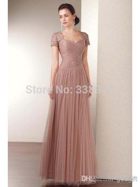 2017 Mother Of The Bride Dresses A-line Cap Sleeves Floor Length Champagne Tulle Lace Long Evening Dresses Mother Dresses