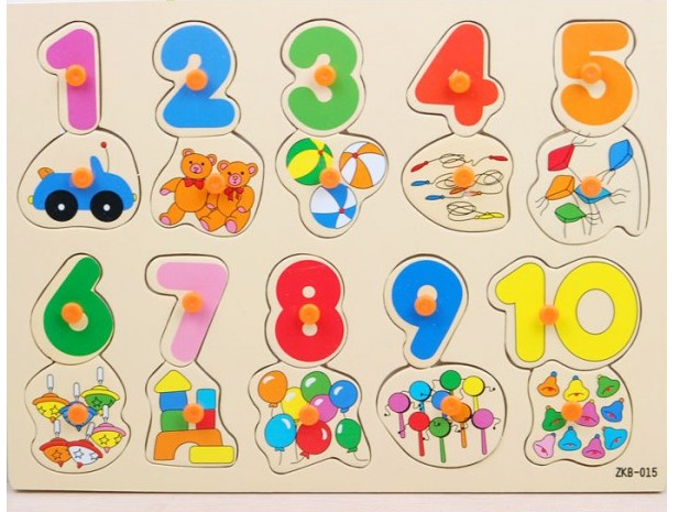Toddler Toys Puzzle : Kids developmental wooden common puzzle set with numerals