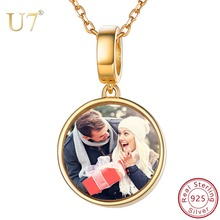 U7 925 Sterling Silver Personalized Custom Photo Pendant Necklaces for Women Choker Memorial Jewelry Valentine's Day Gifts SC262 u7 100% 925 sterling silver heart shape engraved personalized custom photo pendant necklace mother s day gifts for lovers sc83