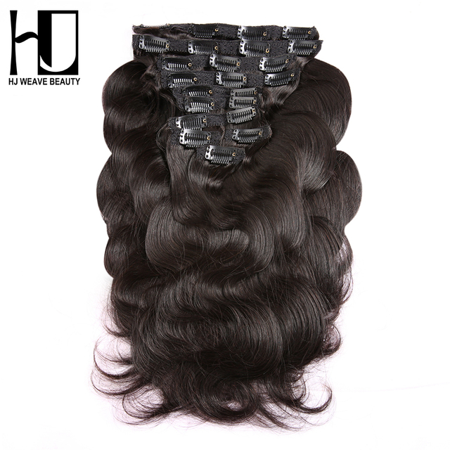 HJ WEAVE BEAUTY Clip In Human Hair Extensions Body Wave 140G Remy Hair Natural Color 10 Pieces/Set 12-22 Inch