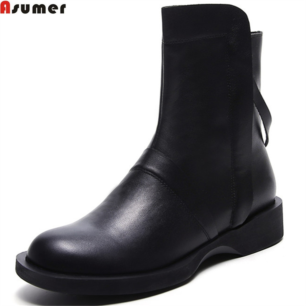 Asumer 2018 black fashion women boots round toe zipper genuine leather boots flat with cow leather boots comfortable asumer fashion new women boots round toe zipper ladies genuine leather boots square heel keep warm cow leather mid calf boots