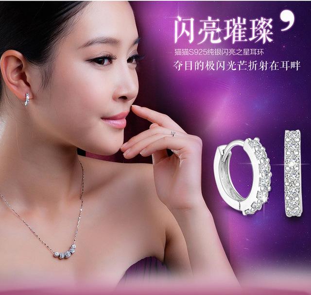 OMHXZJ Wholesale Fashion jewelry circular Elegant girl woman single row drill AAA zircon 925 Sterling silver Stud Earrings YS24