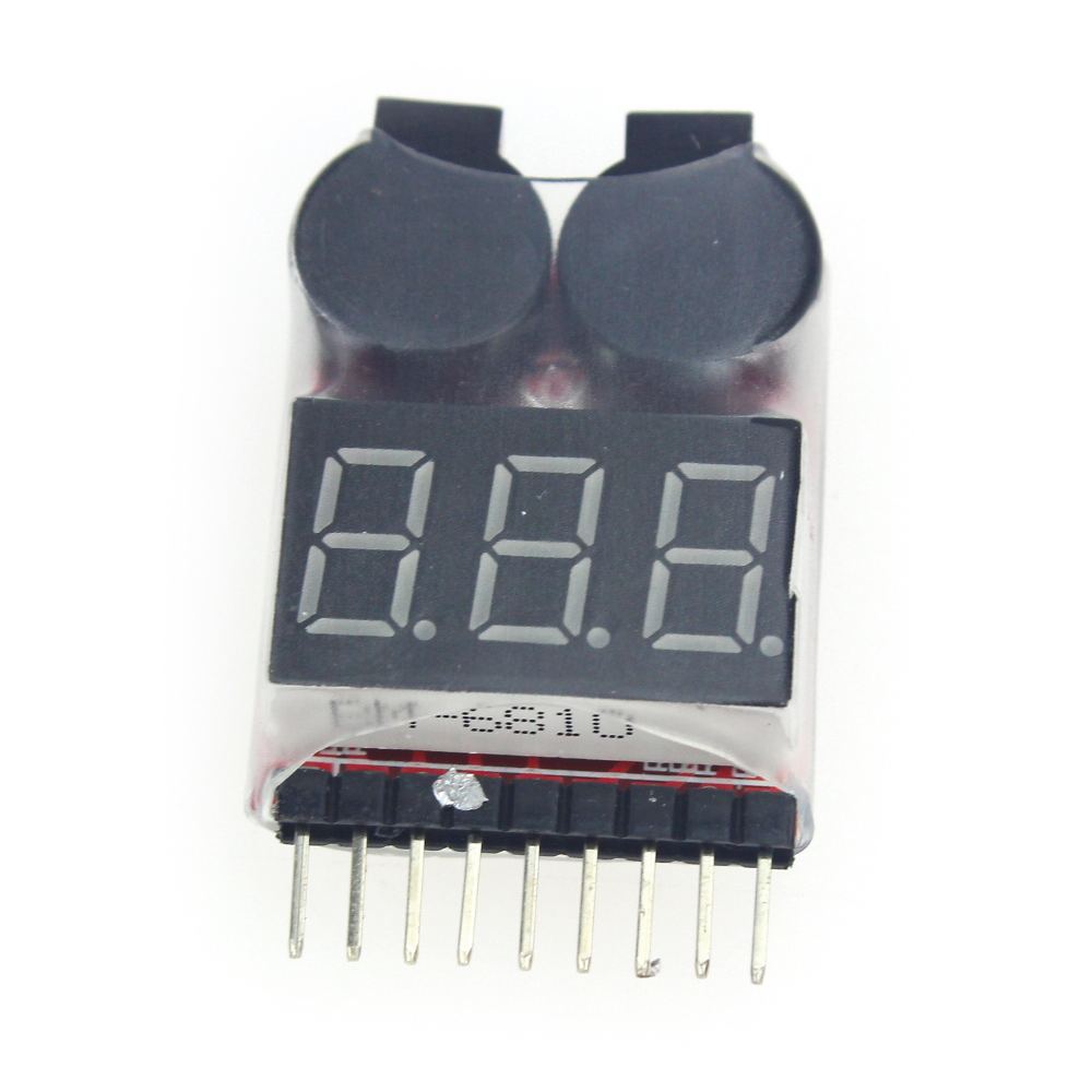 F00872 1S-8S Dual Speaker 2 IN 1 LiPo Battery Voltage Checker Indicator Tester LED & low voltage buzzer alarm combo