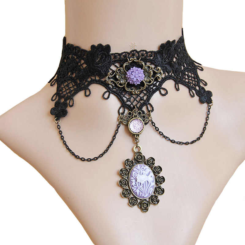 New Handmade Womens Purple Flower Rose Rhinestone Bronze Alloy Black Lace  Choker Statement Necklace Collar Lolita f916b6cc2195