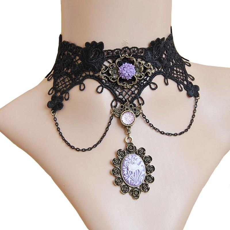 New Handmade Womens Purple Flower Rose Rhinestone Bronze Alloy Black Lace Choker Statement Necklace Collar Lolita Gothic Antique