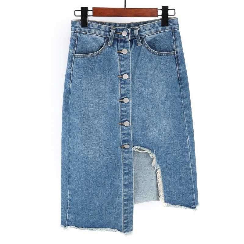 e70c7a1c5 New 2019 Fashion Summer Women Sexy Denim Skirts High Waist Front  Single-breasted Vintage Girls