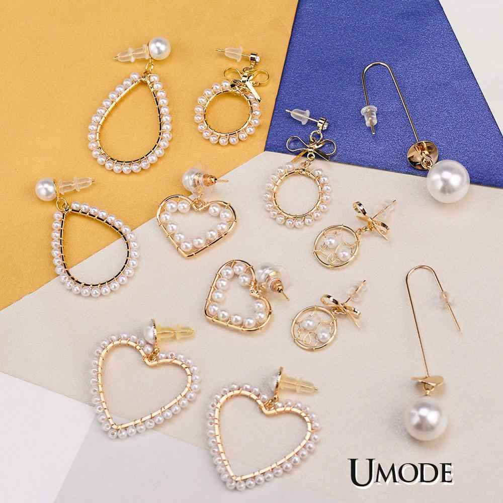 cdcb323137de6 UMODE New Fashion Gold Korean Pearl Earrings 2019 For Women Love Gift Round  Heart Drop Dangle Earring Geometric Trendy Jewelry
