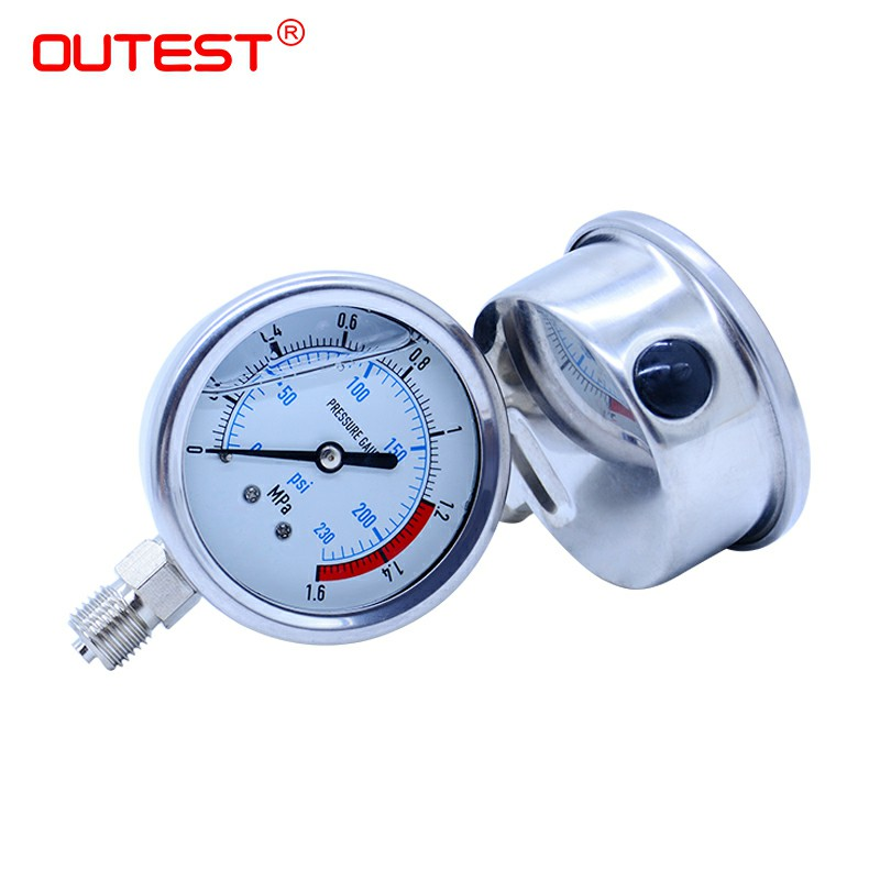 OUTEST G 1/4 Thread Radial Stainless Steel Manometer Liquid Filled Pressure Gauge Air Oil Water Hydraulic Pressure Gauge