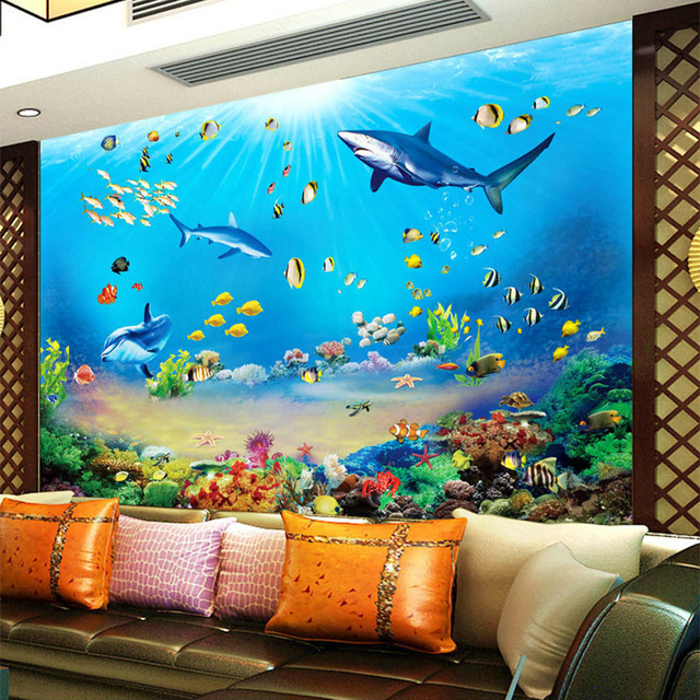 Photo wallpaper hd underwater world shark tropical fish 3d for 3d aquarium wallpaper for bedroom