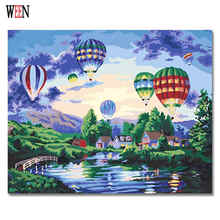 WEEN Castle and Balloon Painting Pictures By Numbers DIY Handpainted Landscape Town Coloring numbers Home Wall Oil Artwork