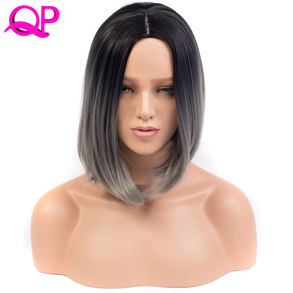 Qp HAIR Ombre Blue Wig Synthetic Hair Short Wigs For  Bobo Straight Hair Wigs