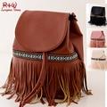 Casual Mujeres Bolso de marca de Moda de cuero Borla de La Franja Bucket Bag Mujeres Messenger Bag Bolso de Hombro Bolsas Bolso Del Envío Libre