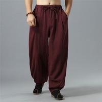 S XL NEW Elastic Waist Plus Size Hip Hop Harem Pants Men Cotton Line Casual Loose Wide Leg Straight Trousers Drawstring Joggers