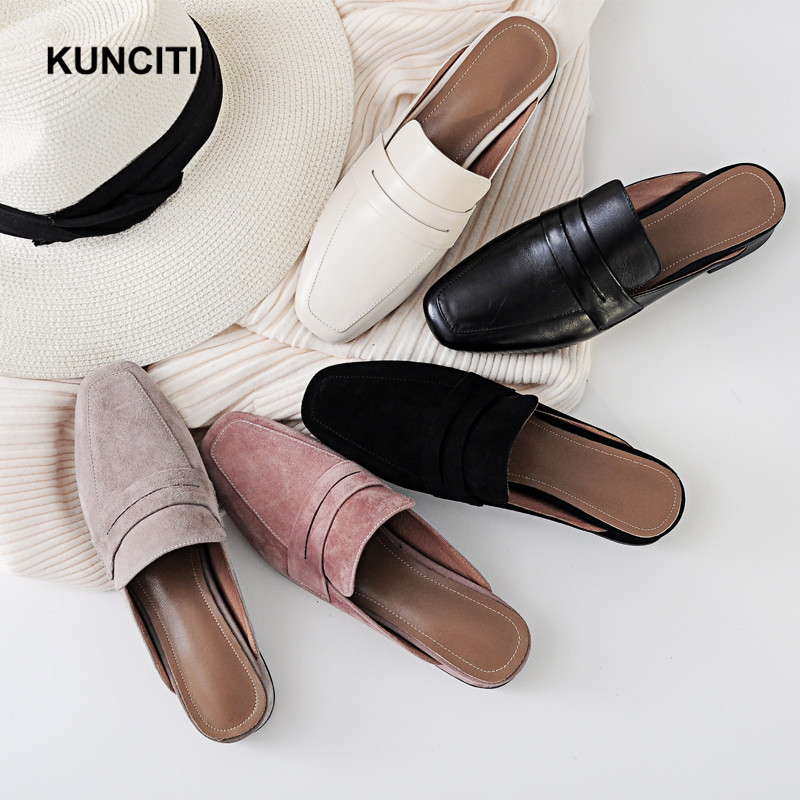 2018 KUNCITI Mules Shoes Women Leather Shoes Moccasins Slip On Ladies Low Heel Loafers Round Toe