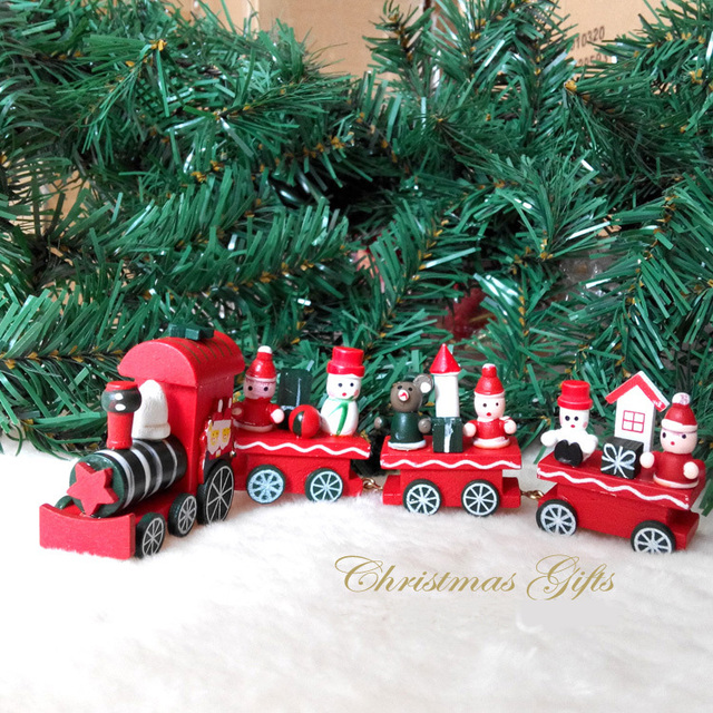 1pc/lot christmas ornament wooden christmas large train christmas ...