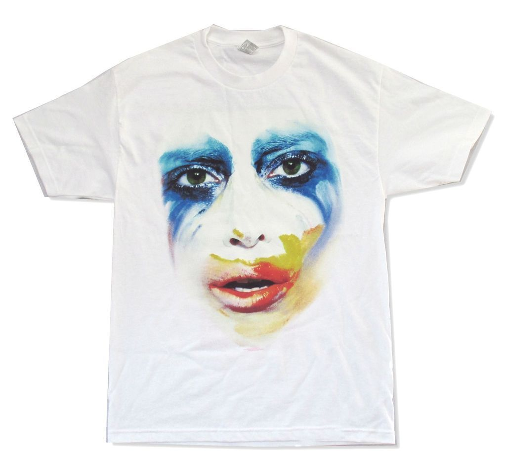 Lady Gaga Applause Tour Face ArtRave Adult White T Shirt New Official