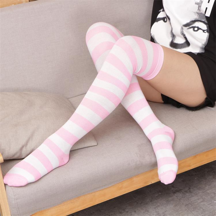 Over Knee Black White Blue Red Long Stripe Japanese Cartoon Tight High For Women Girl Cosplay Student Kawaii Tights