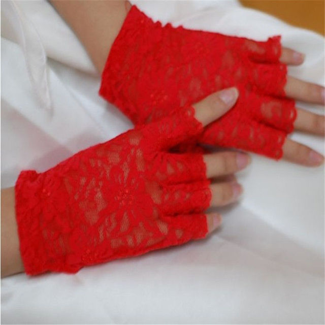 Womens Sexy Dressy Lace Gloves Sunscreen Short Gloves Fingerless Lace Driving Gloves Spring And Summer Mittens Accessories 5