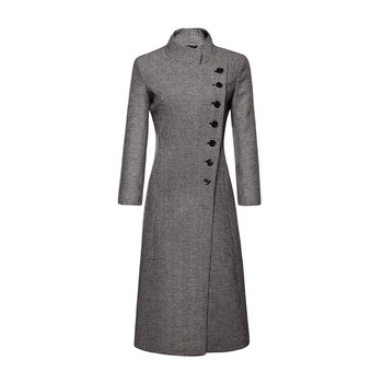 Autumn winter women outerwear 2018 new houndstooth single-breasted female woolen coat mid-long Slim large size ladies coat cw390