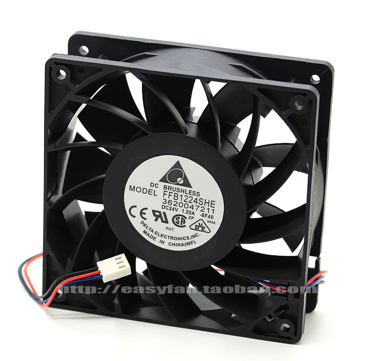 Delta FFB1224SHE 8F40 DC 24V 1.2A 120X120x38mm Server Square fan ...