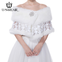 U-SWEAR 2018 New Arrival Warm Flora Lace Patchwork Women Wedding Jackets Bolero White Accessories Bridal Wraps Shawls