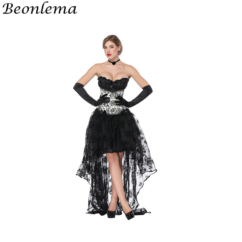 Beonlema <font><b>Halloween</b></font> <font><b>Sexy</b></font> <font><b>Dress</b></font> Rave Costume Grace Tube Top Corsets Black For Women Clubwear Floral Lace Gorset Tulle <font><b>Dress</b></font> Set image