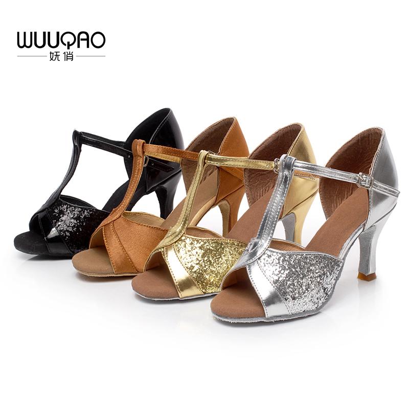 Girl's Women's Latin Dance Shoes Satin /Leatherette Ballroom /Tango/ Salsa Sandals 5cm / 7cm Heel More Style (more color)