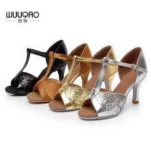 5c6d9903c3 Zapatos de baile latino de satén para mujer/sala de baile de cuero/Tango/sandalias  de Salsa 5 cm/7 cm tacón más estilo (más .