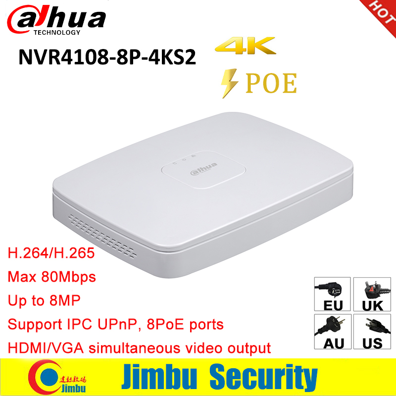 Dahua NVR 4K Network Video Recorder NVR4108 8P 4KS2 8CH Smart 1U 8PoE port 4K H