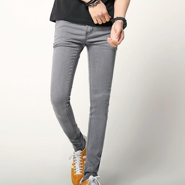 mejor baratas ce0ae ee1f0 Hombres gris Skinny vaqueros Slim Denim Pantalones 2019 nuevo coreano moda  de hombre elástico gris vaqueros envío gratis