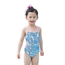 где купить New Model Kid Girls One Piece Swimsuit 2-8 Y Baby Girl Classic Blue Flower Swimwear Children Swimming Wear Swim Suit Bathing по лучшей цене