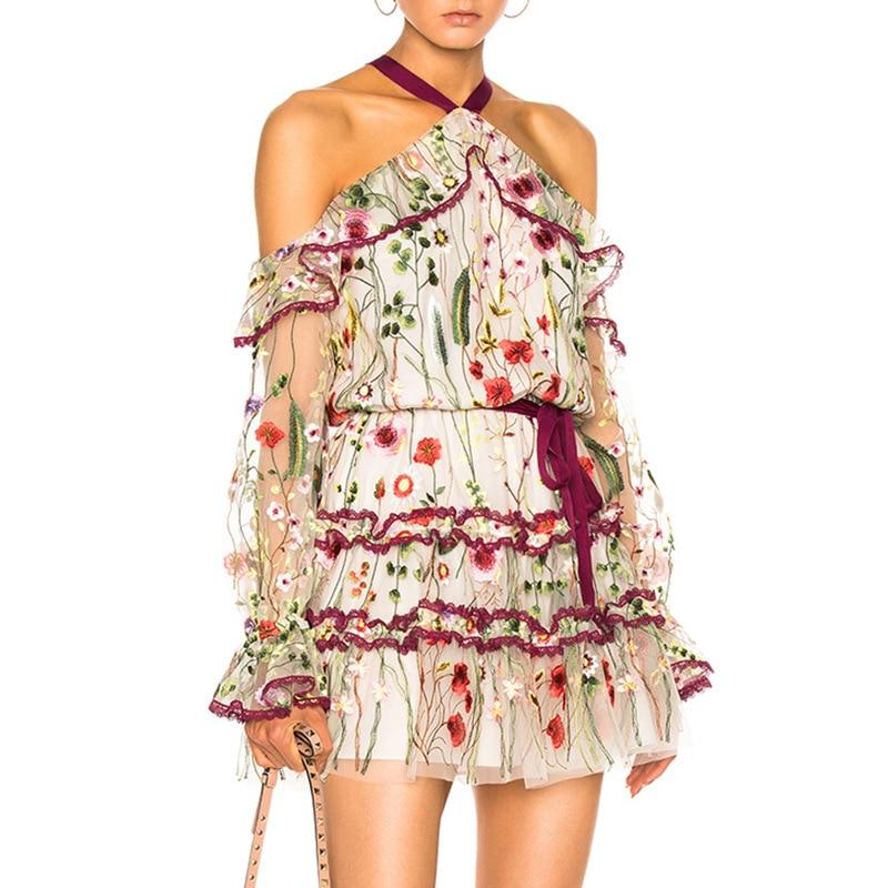 все цены на Runway Dresses Designers 2018 Women High Quality Floral Embroidery Dress Halter Neck Long Sleeve Strapless Dress Mesh Dresses
