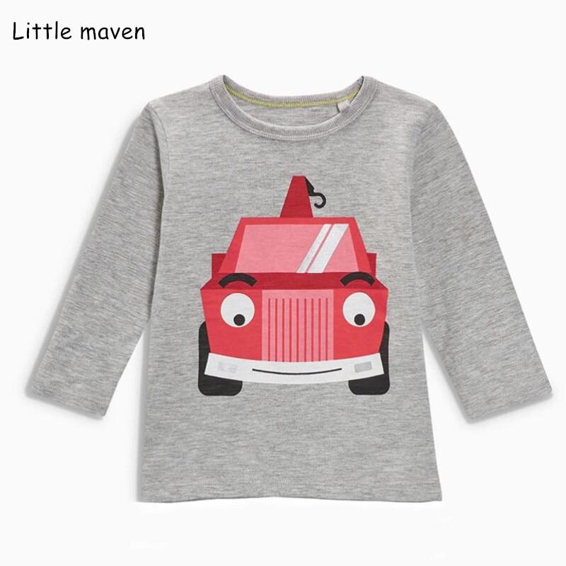 Little maven children brand baby boy girl clothes 2018 autumn new boys girls cotton long sleeve tops bus print t shirt 51162