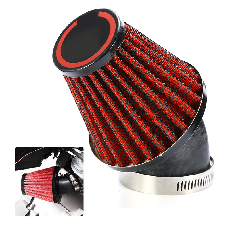 48mm 45 Degree Bend Inlet Cold Air Intake Filter Motorcycle Dual Layer Stainless Steel Mesh Mushroom Head Air Filter