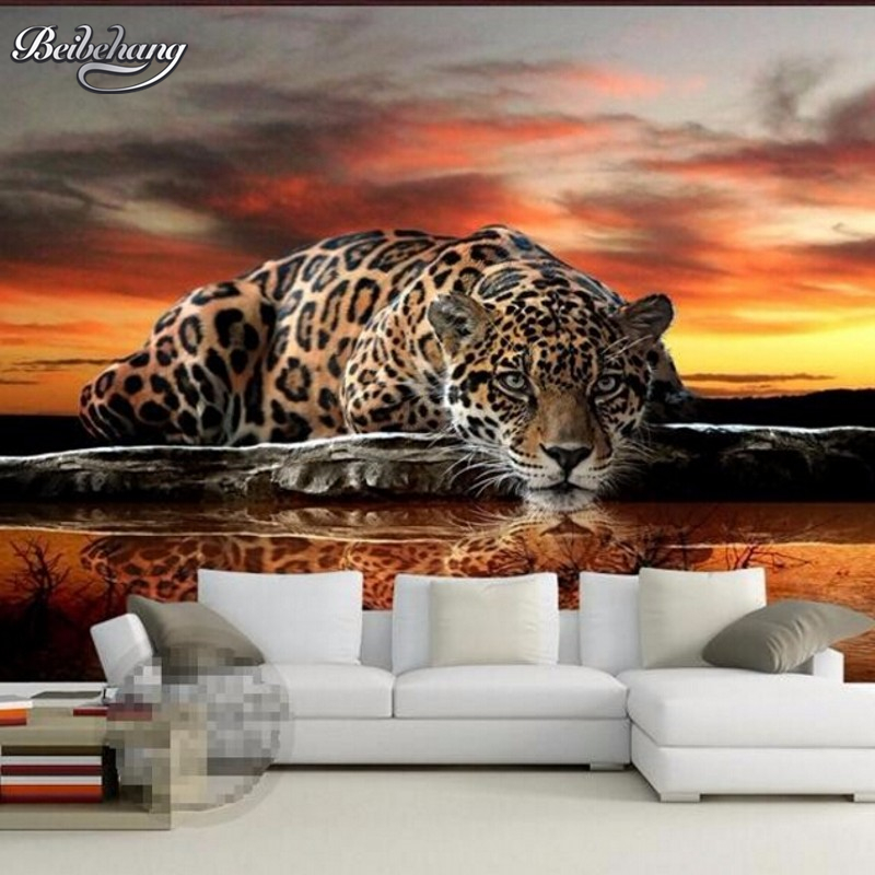 beibehang custom 3D wallpaper High quality leopard wall covering living room sofa bedroom TV backdrop wallpaper for walls 3 d