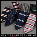 2017 New arrived Mens Stripe Narrow 6cm Crochet Woven Necktie Male Slim Skinny Knitted Flat Tie Drop shipping