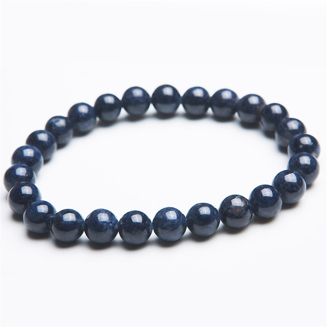 7.5mm Genuine Nautral Blue Stone Bracelet Women Femme Charm Stretch Round Beads Crystal Bracelet