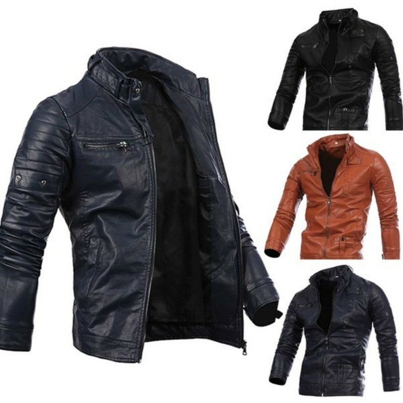 Mens fur coats multi zipper button collar men's motorcycle male leather outerwear jackets jacket fashion coat men
