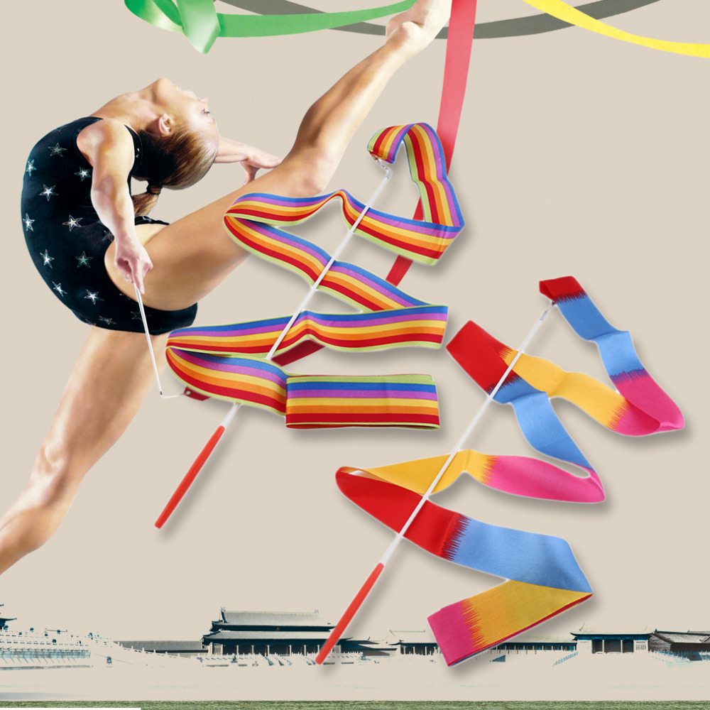 1pc 4M Universal Gym Dance Ribbon Rhythmic Art Gymnastic Streamer Twirling Rod Stick Dance Performace Accessories Drop Shipping