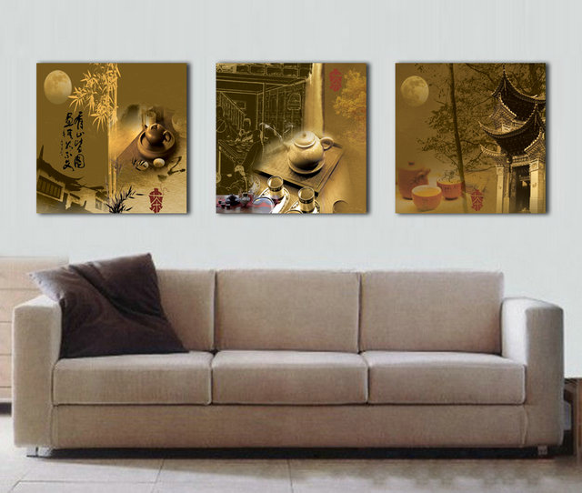 ٩(^‿^)۶Wall Art 3 Stks Mid-Herfst maan China Thee picture doek ...