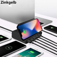 Quick Charge 3.0 USB Charger Desktop Smart Multi Port Universal USB Fast Charging Station Type C Dock 5W Qi Wireless Charger