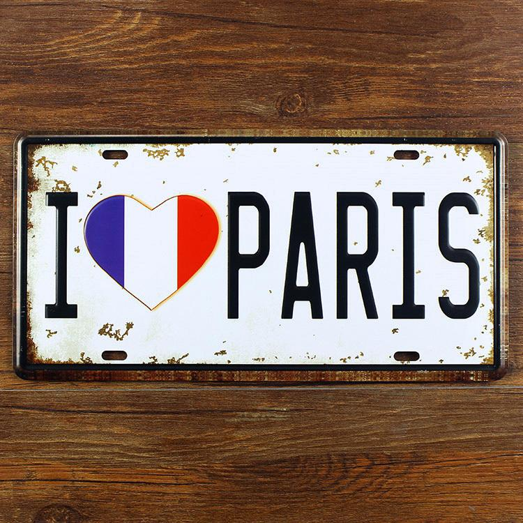 RONE139 Wholesale car number plates I love paris france  Metal vintage tin signs License wall art craft cafe pub 30*15 CM