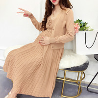 2pcs/set Fashion Knitted Maternity T Shirts Long Sleeve Blouses Dresses Clothes for Pregnant Women Pregnancy Dresses Clothing