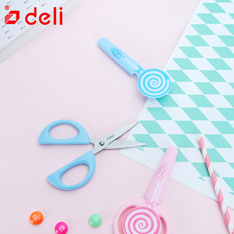 Deli Children Scissors Cute Kawaii Scissors Lollipop Scissors Kids Gift School DIY Scrapbook Paper Diary Craft Decorating Tools