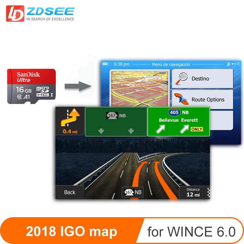 GPS Map Micro SD Cards 16GB For Windows Ce 6.0 2018 Latest Map Free Update For Gps Navigation Europe/Russia/spain Etc