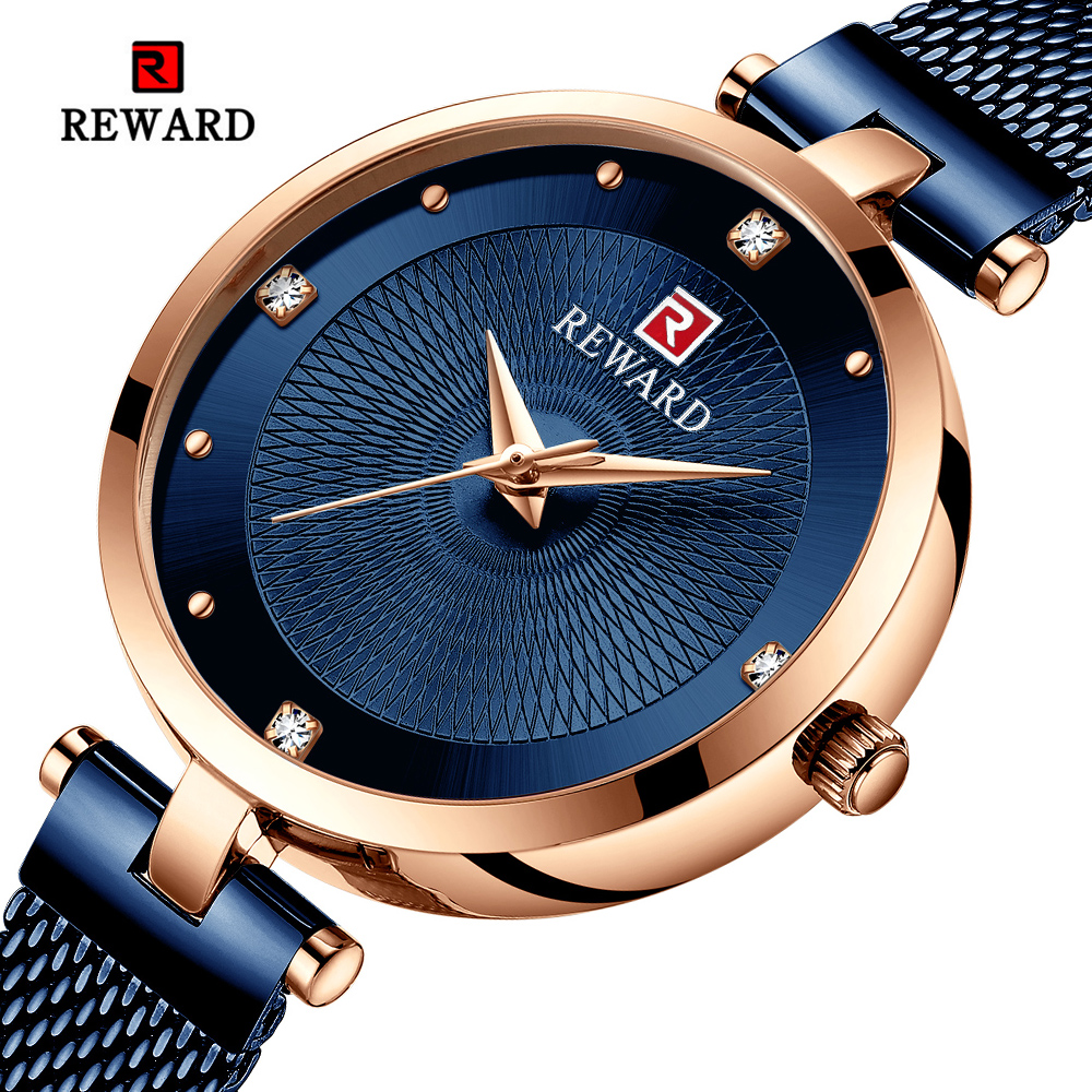 REWARD Women's Fashion Watches Waterproof Luxury Gold Quartz Ladies Dress Watch Woman Wristwatch Relogio Feminino Montre Femme