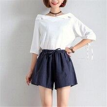 Высокая талия широкие Шорты повседневные Модные Pantalon Femme брюки для женщин Твердые Spodnie Damskie Короткие Плюс Размер XL хлопок лен
