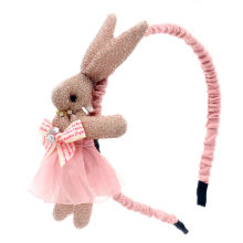 Children lace yarn headband hairband bright pink stereo cartoon rabbit hair band head hoop cute bows princess hair accessories(China)