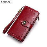 Vintage Style Women Clutch New Wallet Split Leather Wallet Female Long Wallet Women Zipper Purse Strap