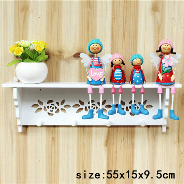 1 Stks Hout Vogue Hollow Rose Patroon Muur Hanger Rack Synthetische
